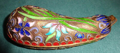 Cloisonne` Deckeldose / Pillen - Dose, Gurken / Zucchini - Form, Made in China