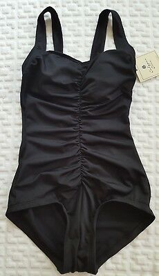 44109af395 NWT $89 Calypso Cove Women's One Piece Swimsuit Black Ruched Wide Straps sz  10