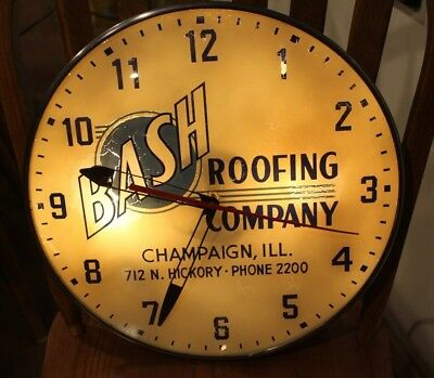 Vintage Bash Roofing Champaign ILL Lighted Advertising Clock Lumi-Dial Runs!