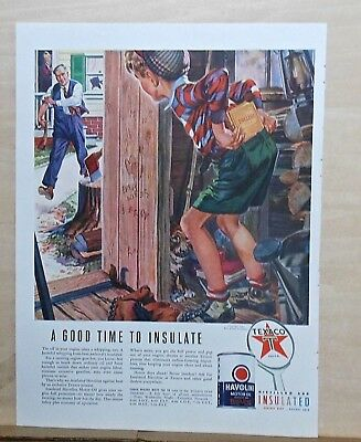 "1940 magazine ad for Texaco, Havoline - little boy ""insulates"" ahead of spanking"
