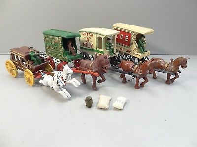 "Vintage Cast Iron Toys: Ice, US Mail, Fresh ""A"" Milk, Stagecoach; Horse & Wagon"