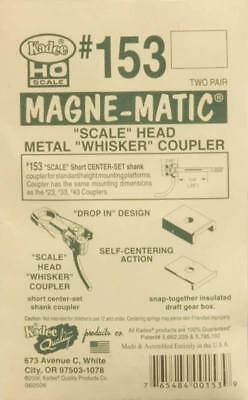 "NEW Kadee HO Scale Magne-Matic Scale Head Metal Whisker Couplers 1/4"" (4) #153"