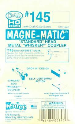 "NEW Kadee HO Scale Magne-Matic Standard Head Metal Whisker Couplers 1/4"" (4)"