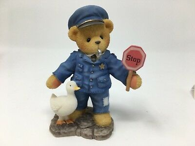Cherished Teddies Bear Police Officer Figurine With Stop Sign and Duck