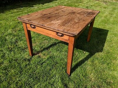 Genuine Antique Pine Dining Table Farmhouse Kitchen Rustic Vintage