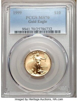 Finest In Existence !! 1999 $10 Gold Eagle Pcgs Ms70 Lo Pop