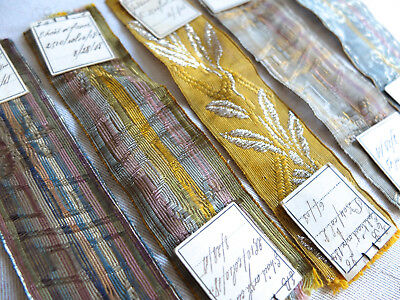 Collection antique 1909 metallic braid / ribbon samples from France