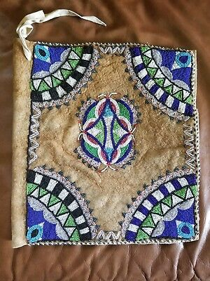 Rare Old Antique Plateau Indian Beaded Book or Document Cover