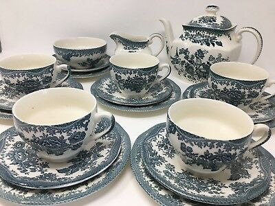 Vintage Tea Set 21 Piece Enoch Wedgwood Tunstall LTD Asiatic Pheasants Teal