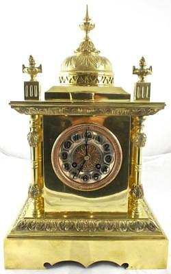 Superb antique French 19th c brass striking 8 day mantle clock with domed top