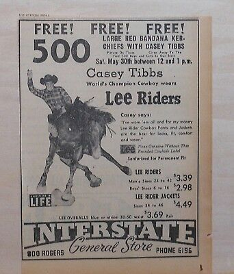 1953 newspaper ad for Lee Riders jeans - Rodeo Champ Casey Tibbs bandanas