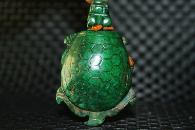 Collection Decor Exquisite Handwork Old Jade Carve Lovely Tortoise Rich Statue