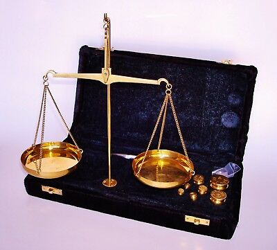 Vintage Portable Brass Balance Scale Sowed in a Velvet Covered Case