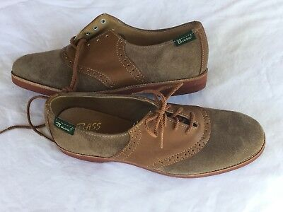NEW Bass Oxford Saddle Shoes Tan Suede Brown Rockabilly Vintage Ladies 6 - 6.5