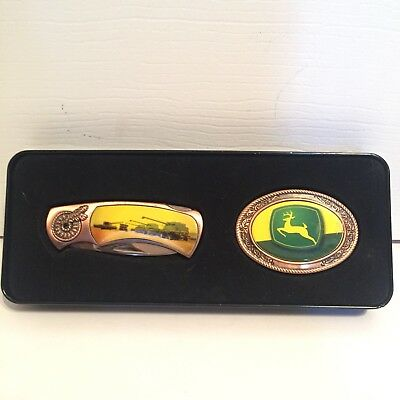 John Deere Pocket Knife Belt Buckle Collectors Set Gift Tin New