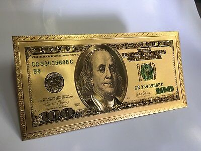 25 Pieces Gold Foil Plated $100 Gold Dollar Bill Envelope Banknote