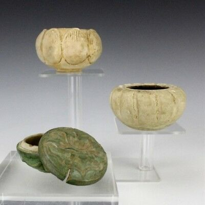 Lot 3 Antique Chinese Export Porcelain Carved Lotus Celadon Glaze Vase & Box SMS