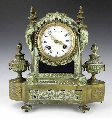 Antique French Style Ornate Ram Head Bronze Porcelain Dial Mantle Clock NR MSW