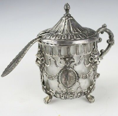 Antique Ornate Filigree Sterling Silver Footed Mustard Pot w Spoon & Insert RCR