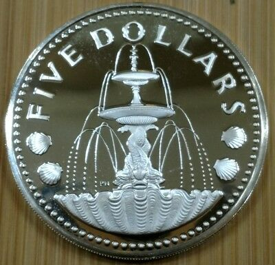 1975 Barbados Silver Proof Five Dollars - Shell Fountain