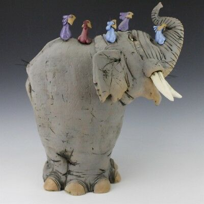 MYSTERY ARTIST Signed Whimsical Elephant w Bird Studio Art Pottery Sculpture SMS
