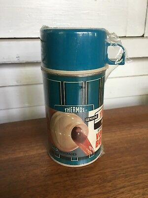 Thermos 1971 Vintage New in Packaging Teal Blue Black Modern