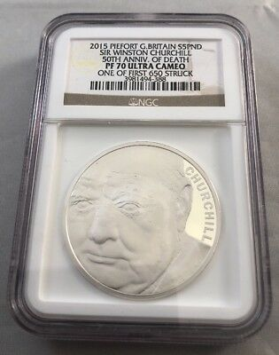 2015 Piefort Great Britian 5 Pounds Churchill 50th Annv. Of Death PF70 Ultra Cam