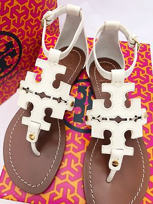 587e1573f6387 TORY BURCH PHOEBE Flat Thong Sandals Ivory White Leather Miller Logo ...