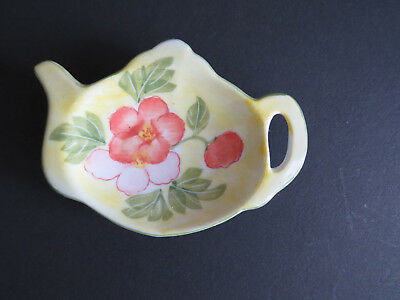 Teapot Shaped Tea Bag Holder Spoon Rest Ceramic Yellow Peach Pink Flowers