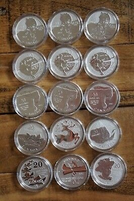 15 Silver Coins - Canada $20 for $20 Set (15 Silver Coins)