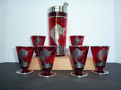 Vintage Ruby Cocktail Shaker With 6 Glasses And Sterling Sailfish Overlay