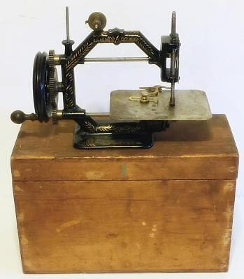 Cased Antique Johnson Clark & Co. Gold Medal Hand Crank Cast Iron Sewing Machine