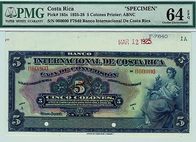 Banco Internacional de Costa Rica 5 Colones P-185s PMG 64 EPQ Ch. Uncirculated