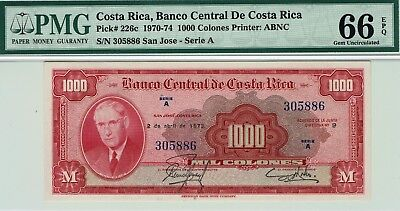 Banco Central de Costa Rica 1000 Colones P-226c PMG 66 EPQ GEM Uncirculated