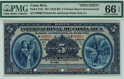Banco Internacional de Costa Rica 5 Colones P-174s PMG 66 EPQ GEM Uncirculated