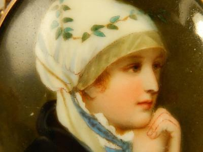 Antique Porelain PORTRAIT PIN Hand Painted LARGE Beautiful Young Girl VICTORIAN