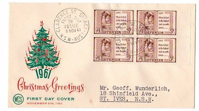 1961 5d BROWN BLOCK OF FOUR CHRISTMAS STAMPS WESLEY FIRST DAY  COVER