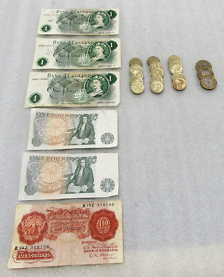 Lot of Great Britain 26 Pounds Face Value of Coins & Currency + 10 Shilling Note