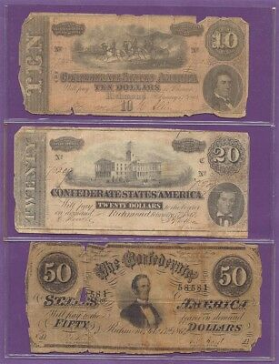 3 1864 Confederate CSA Notes,$10 T-68,$20 T-67,$50 T-66,True Auction,No Reserve