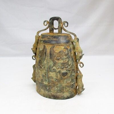 B325: Chinese ancient style biggish bell of copper w/appropriate TOTETSU pattern