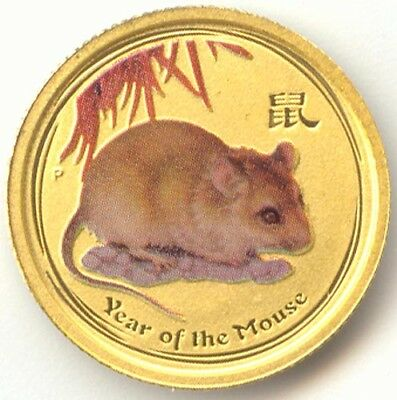 Australia,2008,5 Dollars Gold,Colorized Mouse, .9999 1/20th Ounce,Lunar Series