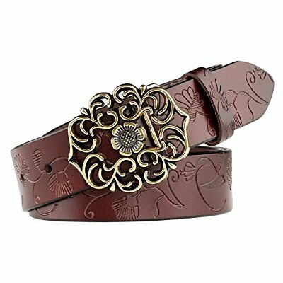 Whippy Western Fashion Leather Belts For Women With Vintage Hollow Flower Buckle