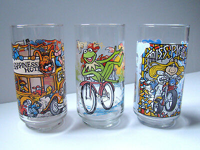 Set of 3 1981 The Great Muppet Caper McDonald's Drinking Glasses Kermit Ms Piggy
