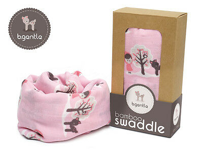 NEW B.Gentle 100% BAMBOO Baby Swaddle Wrap Forest Friends 120x120cm