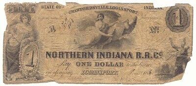 $1 Obsolete Note, Northern Indiana R.R.C.Co. Logansport, True Auction,No Reserve