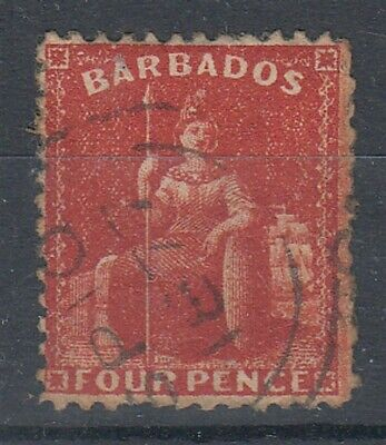 BARBADOS 1875 QV BRITTANIA 4d. RED USED (ID:741/D52090)