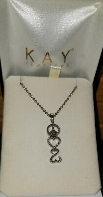 13732596f Kay Jewelers Jane Seymour Open Heart Sterling silver Peace Sign pendant  necklace