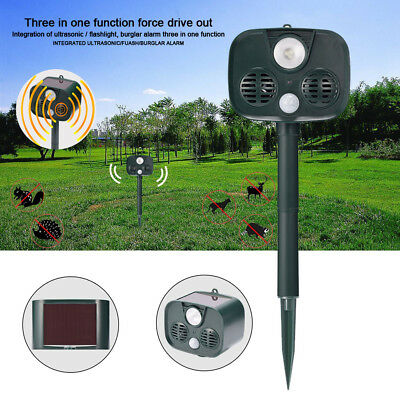 Solar Power Plate Sensor Ultrasonic Bird & Animal Repeller Pest Repellent Light