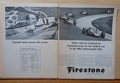 1967 two page magazine ad for Firestone Tires - Parnelli Jones, 1967 Indy 500