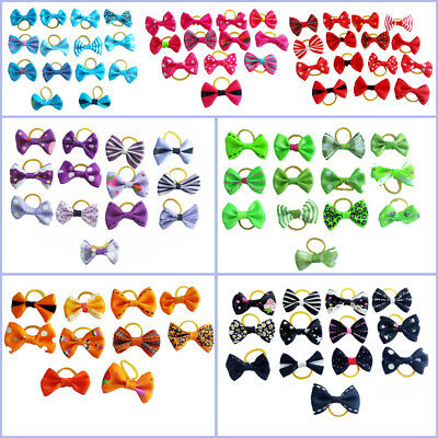 20Pcs Dog Cat Hair Bows W/Rubber Bands Pet Puppy Bowknots Grooming Accessories